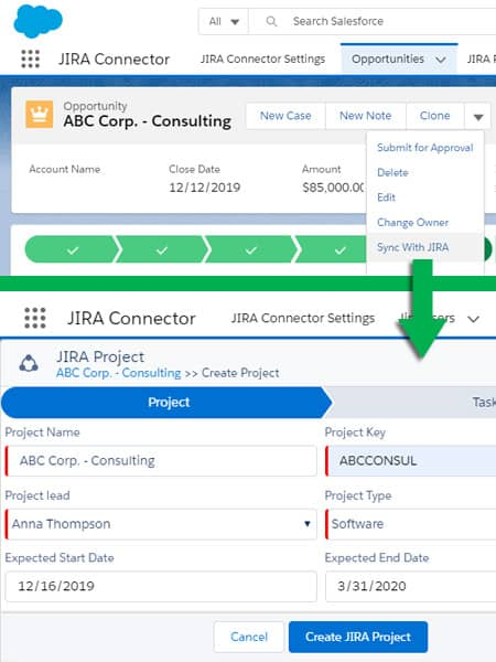 Salesforce-JIRA Connector - Opportunity Sync with JIRA