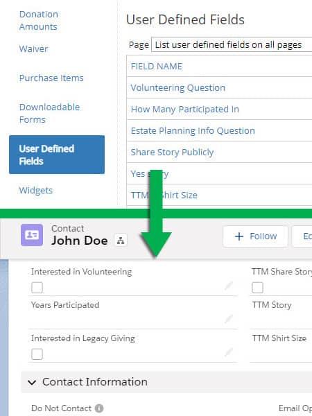 Screenshot Salesforce-Panorama (Artez) Connector User Defined Fields