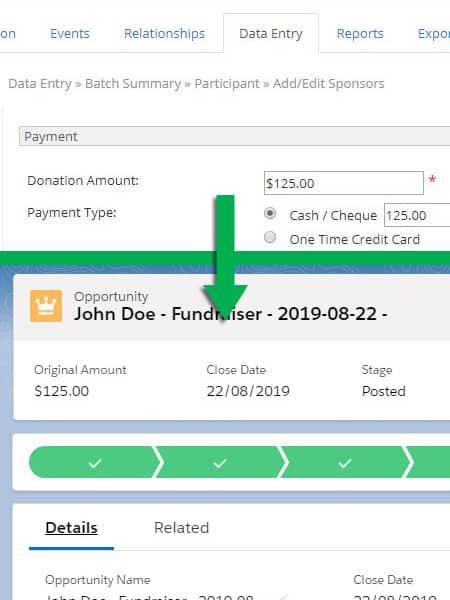 Screenshot Salesforce-Panorama (Artez) Connector Donations