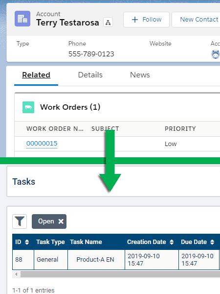 Screenshots Salesforce AlayaCare Connector Work Orders Tasks