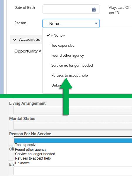 Screenshots Salesforce AlayaCare Connector Feedback Refusal