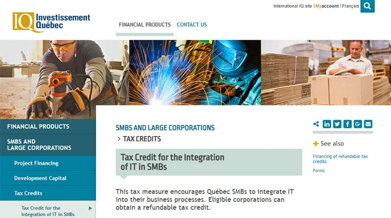 Tax Credit from Investissement Quebec for implementation of CRM and ERP in SMBs